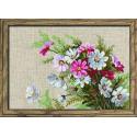 Космеи, набор для вышивания крестиком 30х21см нитки шерсть Safil 16цветов Риолис