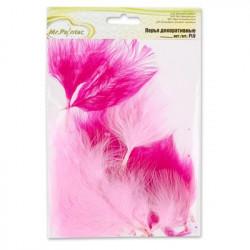 Розовый(ассорти), декоративные перья, 3гр, Mr. Painter