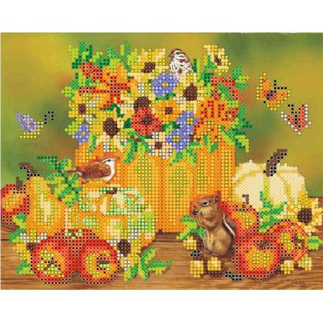 Праздник осени, холст с рисунком для вышивки бисером, 20х16см, 16цветов АбрисАрт