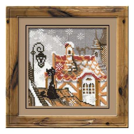 Город и кошки.Зима, набор для вышивания крестиком, 13х13см, нитки шерсть Safil 9цветов Риолис