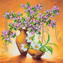 Весенние цветы, холст с рисунком для вышивки бисером, 18х20см, 13цветов АбрисАрт