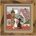 Город и кошки.Весна, набор для вышивания крестиком, 13х13см, нитки шерсть Safil 11цветов Риолис