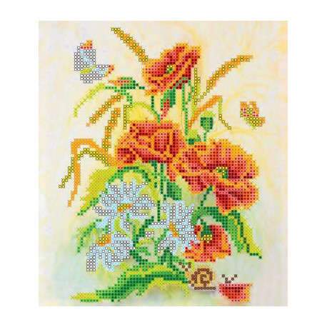 Букет, холст с рисунком для вышивки бисером, 17х20см, 13цветов АбрисАрт