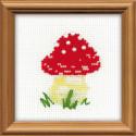 Мухомор, набор для вышивания, 10х10см, бисер+мулине 4цвета Риолис