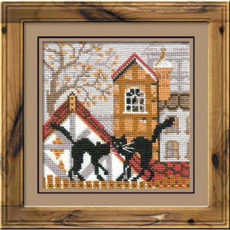 Город и кошки.Осень, набор для вышивания крестиком 13х13см нитки шерсть Safil 9цветов Риолис