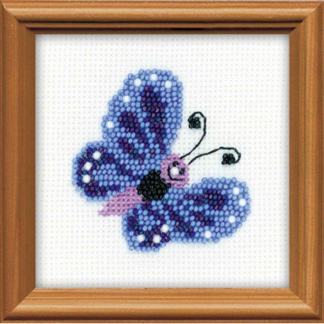 Бабочка, набор для вышивания, 10х10см, бисер+мулине 4цвета Риолис