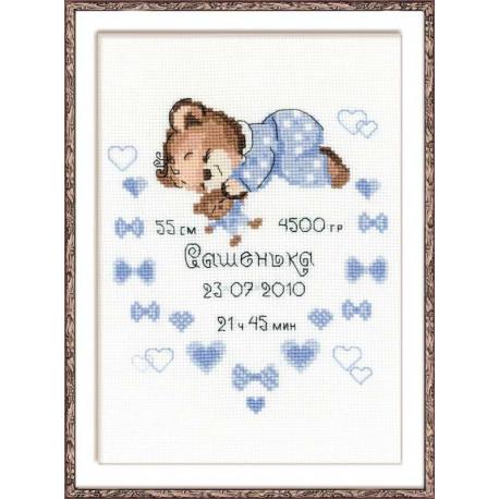 Метрика для мальчика, набор для вышивания крестиком 18х24см мулине хлопок Anchor 10цветов Риолис