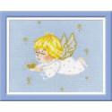 Ангелочек с сердцем, набор для вышивания крестиком, 18х15см, нитки шерсть Safil 9цветов Риолис