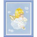 Ангелочек с книгой, набор для вышивания крестиком, 15х18см, нитки шерсть Safil 8цветов Риолис