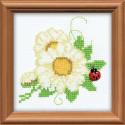 Цветочек, набор для вышивания, 10х10см, бисер+мулине 7цветов Риолис