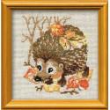 Ёжик, набор для вышивания крестиком, 15х15см, нитки шерсть Safil 10цветов Риолис