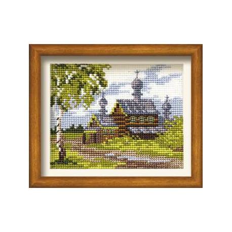 Лето в деревне, набор для вышивания крестиком, 16х13см, нитки шерсть Safil 12цветов Риолис
