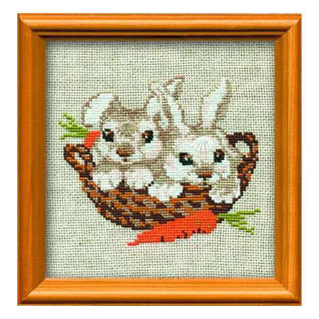 Зайцы, набор для вышивания крестиком, 15х15см, нитки шерсть Safil 9цветов Риолис