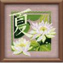Лето, набор для вышивания крестиком, 20х20см, нитки шерсть Safil 9цветов Риолис