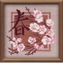Весна, набор для вышивания крестиком, 20х20см, нитки шерсть Safil 8цветов Риолис