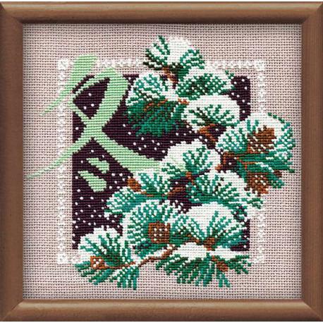 Зима, набор для вышивания крестиком, 20х20см, нитки шерсть Safil 8цветов Риолис