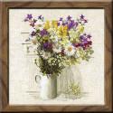 Полевые цветы, набор для вышивания крестиком, 45х45см, нитки шерсть Safil 24цвета Риолис