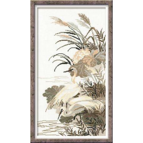 Цапли, набор для вышивания крестиком, 26х48см, мулине хлопок Anchor 8цветов Риолис