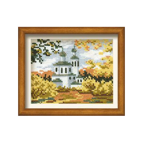Осень в деревне, набор для вышивания крестиком, 16х13см, нитки шерсть Safil 10цветов Риолис