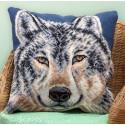 Волк(подушка), набор для вышивания крестиком 40х40см 10цветов Panna