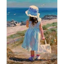 Девочка у моря, набор для изготовления картины стразами 40х51см 21цв. полная выкладка АЖ