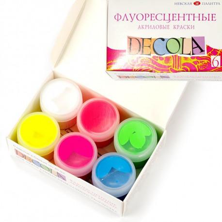 Набор флуоресцентных акриловх красок 6х20мл Decola +t!