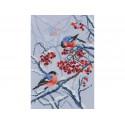Рябиновые снегири, набор для вышивания крестиком, 22х33см, мулине DMC хлопок PTO