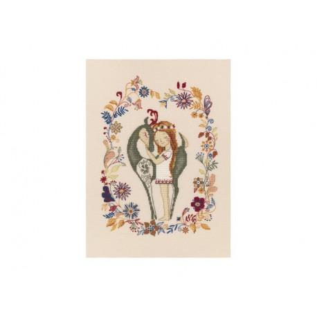 Девочка и лань, набор для вышивания крестиком, 21х28см, мулине DMC хлопок PTO