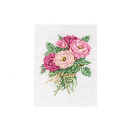 Букетик роз, набор для вышивания крестиком, 19х22см, мулине DMC хлопок PTO