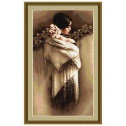 Испанка с платком, набор для вышивания крестиком, 25х45см, 29цветов, Aida18 Luca-S