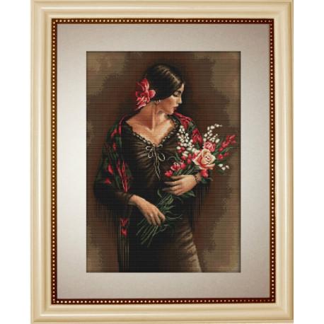 Испанка с цветами, набор для вышивания крестиком, 28х41см, 36цветов, Aida18 Luca-S