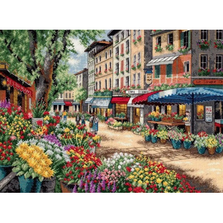 Рынок в Париже, набор для вышивания крестиком, 38х28см, Dimensions