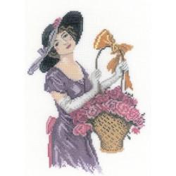 Прелестная цветочница, набор для вышивания крестиком, 15х21см, мулине DMC хлопок PTO