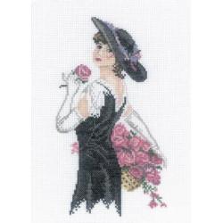 Дама с розами, набор для вышивания крестиком, 15х21см, мулине DMC хлопок PTO