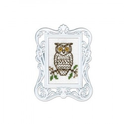 Сова, набор для вышивания крестиком с рамкой, 3,5х5,5см, мулине DMC хлопок PTO