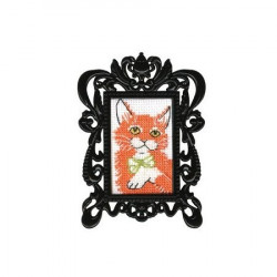 Рыжий кот, набор для вышивания крестиком с рамкой, 3,5х5,5см, мулине DMC хлопок PTO
