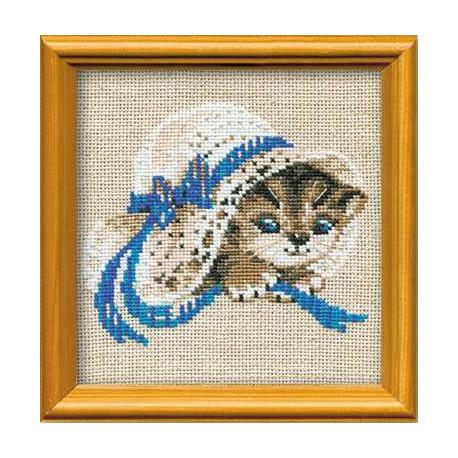 Котёнок в шляпе, набор для вышивания крестиком, 15х15см, нитки шерсть Safil 8цветов Риолис