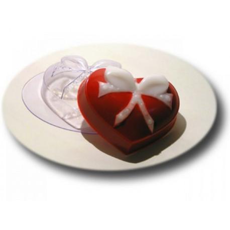 Сердце с бантиком, пластиковая форма для мыла