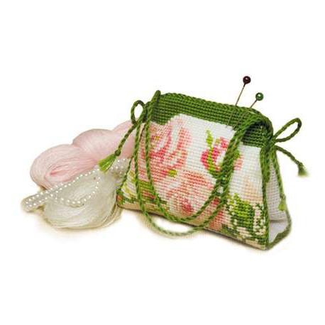 Игольница-сумочка Розочки, набор для вышивания крестиком, 9х7см, нитки шерсть Safil 7цветов Риолис