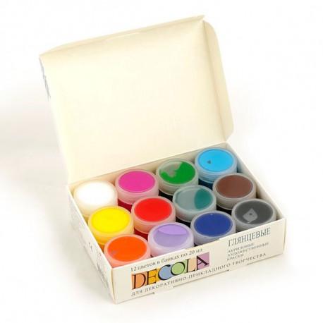 Набор глянцевых акриловых красок 12х20мл Decola +t!