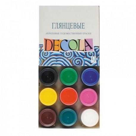 Набор глянцевых акриловых красок 9х20мл Decola