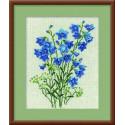 Синие колокольчики, набор для вышивания крестиком, 24х30см, нитки шерсть Safil 11цветов Риолис