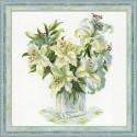 Белые лилии, набор для вышивания крестиком, 45х45см, нитки шерсть Safil 15цветов Риолис