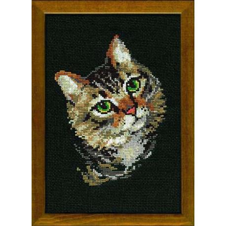Серая кошка, набор для вышивания крестиком 21х30см нитки шерсть Safil 12цветов Риолис