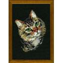 Серая кошка, набор для вышивания крестиком, 21х30см, нитки шерсть Safil 12цветов Риолис