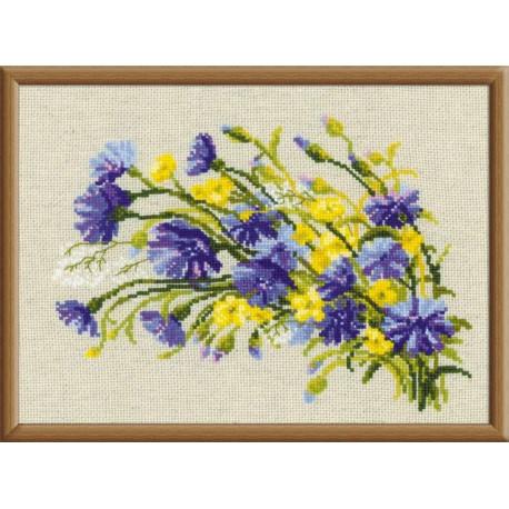 Васильки и лютики, набор для вышивания крестиком, 30х21см, нитки шерсть Safil 15цветов Риолис