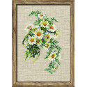 Букет ромашек, набор для вышивания крестиком 21х30см нитки шерсть Safil 10цветов Риолис