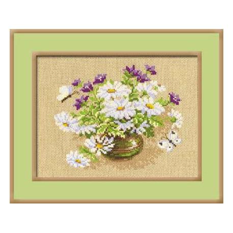 Ромашки и колокольчики, набор для вышивания крестиком, 30х24см, нитки шерсть Safil 11цветов Риолис