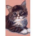 Котенок, канва с рисунком для вышивки нитками 24х35см. Матрёнин посад