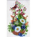 Цветы в корзине, канва с рисунком для вышивки нитками 28х37см. Матрёнин посад